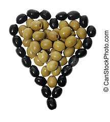 Olives in the form of heart