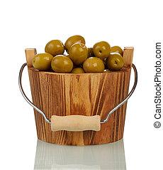 Olives in wooden bowl