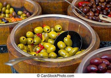 olives in wooden bowls