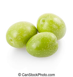 Olives isolated on white, clipping path included