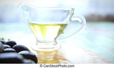 olives, lent, supplémentaire, sain, bol, mouvement, vierge, huile, frais, olive, table