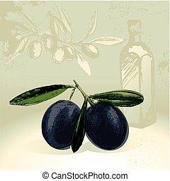 olives, noir, bouteille, huile d'olive