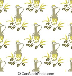 olives oil seamless pattern