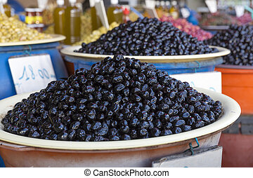 Olives on a market in Morocco, Africa