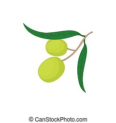 Olives on branch with leaves icon, cartoon style