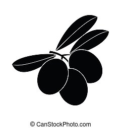 Olives on branch with leaves icon, simple style - Olives on ...