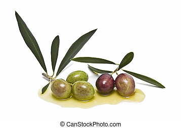 Olives on olive oil. - Olives isolated on a white...