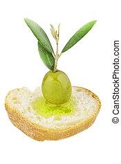 Olives on the white background