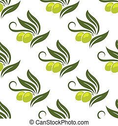 Olives seamless pattern for cooking, gastronomy, wallpaper and fabric design