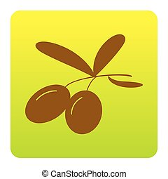 Olives sign illustration. Vector. Brown icon at green-yellow gradient square with rounded corners on white background. Isolated.