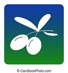 Olives sign illustration. Vector. White icon at green-blue gradient square with rounded corners on white background. Isolated.