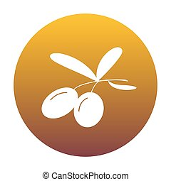 Olives sign illustration. White icon in circle with golden gradi