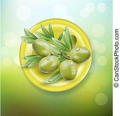 olives, vecteur, arrière-plan vert