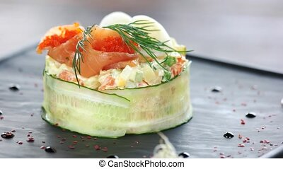 Olivier salad close up. Vegetables, eggs and mayonnaise.