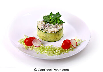 Olivier salad with cabbage, cherry tomatoes and radish