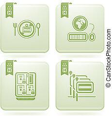 Olivine 2D Squared Icons Set: Hotel