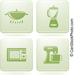 Everyday Kitchen Utensils & Tools Green 2D icons set Vector icons set saved as an Adobe Illustrator version 8 EPS file format easy to edit, resize or colorize. Files are created in CMYK color space safe for prints and easy to convert to RGB color space.