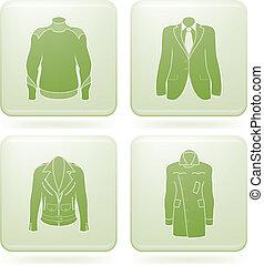 Olivine Square 2D Icons Set: Man\'s Clothing