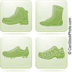 Sports footwear theme icons set. Pictured here from left to right, top to bottom: basketball, golfing, cayaking, snowboarding shoes.