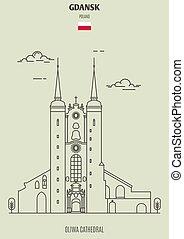 oliwa, 大聖堂, ランドマーク, アイコン, gdansk, poland.
