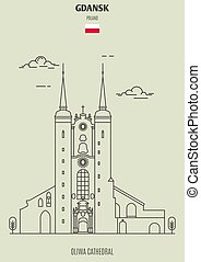 oliwa, catedral, señal, icono, gdansk, poland.