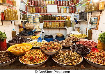 oliwki, sprzedaż, medyna, marrakesh, safian, fasola