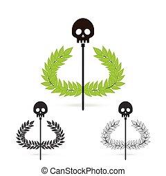 oliwna gałąź, z, czaszka, symbol, od, grecki bóg, hades