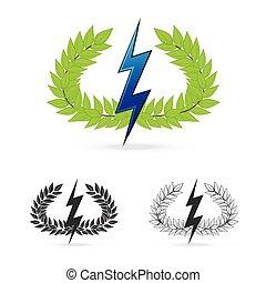 oliwna gałąź, z, grzmot, symbol, od, grecki bóg, zeus