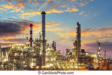 olja, gas, industri, -, raffinaderi, skymning