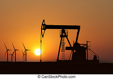 olja pumpar, silhuett, in, solnedgång, och, alternativ...