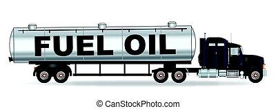 olja, tanka tankfartyget, lastbil