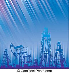 oljeborrplattform, och, pump, över, blå, lysande, rays.
