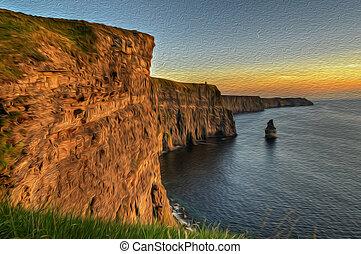 oljemålning, berömd, moher klippor, solnedgång, län clare, irland