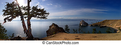 Olkhon idyllic landscape - panoramic cliffs of Olkhon, a...