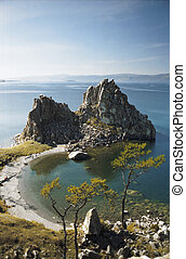 Olkhon Island on Lake Baikal - lagoon of Olhon Island,...