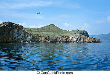 Olkhon island - ocky cliff on the shore , Olkhon island,...