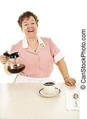 olla, café, camarera, amistoso