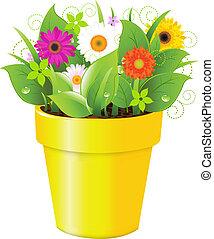 olla, con, pasto o césped, y, flores