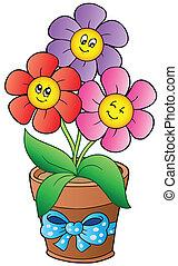 olla, con, tres, caricatura, flores