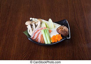olla, cuisine., japonés, plano de fondo, caliente