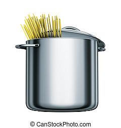 olla de acero, cocina, espaguetis