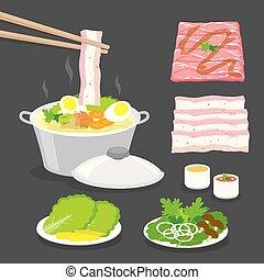 olla, diapositiva, caliente, tradicional, tocino, vegetales, cerdo, ilustración, sukiyaki, conjunto, alimento, vector, carne, caricatura, sauce., shabu-shabu, japonés