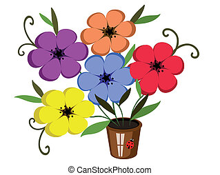 olla, flores
