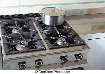 Acero encima industrial inoxidable olla estufa for Ollas para cocina industrial