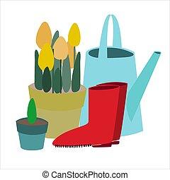 olla, gumboots., plano, vector, regar, jardinería, concepto...