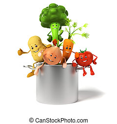 olla, lleno, vegetales