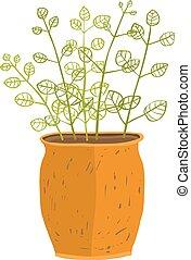 olla planta, interior, ilustración, mano, dibujado, frondoso