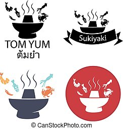 olla, sukiyaki, yum, caliente, tom, logotipo, icono