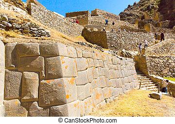 ollantaytambo, peru, inca, gruzy, i, archeologiczne...