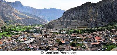 ollantaytambo, stary, inca, i, miasto, poświęcona dolina, peru, ameryka południowa